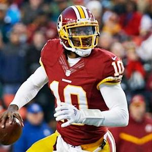 Washington Redskins quarterback Robert Griffin III goes deep to wide receiver DeSean Jackson for 51 yards