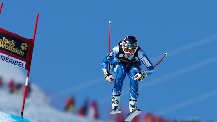 Spain's Carolina Ruiz Castillo speeds down the course on her way to win an alpine ski World Cup women's downhill race, in Meribel, France, Saturday, Feb. 23, 2013. (AP Photo/Marco Trovati)