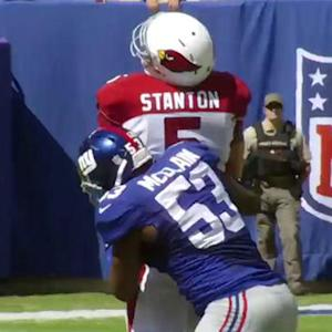 New York Giants linebacker Jameel McClain late hit on Drew Stanton