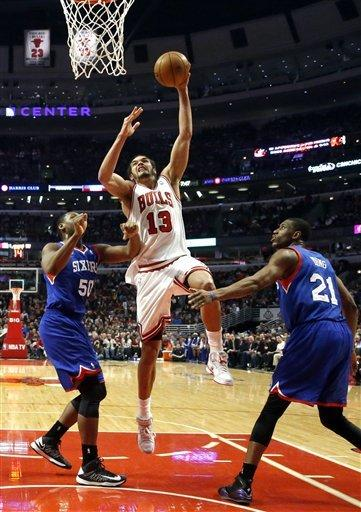 Noah's triple-double too much for 76ers
