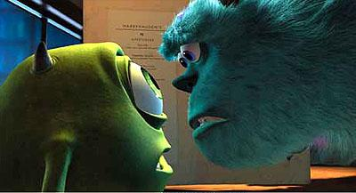 Mike Wazowski ( Billy Crystal ) and James P. Sullivan ( John Goodman ) in Disney's Monsters, Inc.