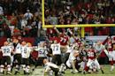 Cleveland Browns kicker Billy Cundiff (8) kicks the game winning field goal against the Atlanta Falcons during the second half of an NFL football game, Sunday, Nov. 23, 2014, in Atlanta. The Cleveland Browns won 26-24. (AP Photo/John Bazemore)