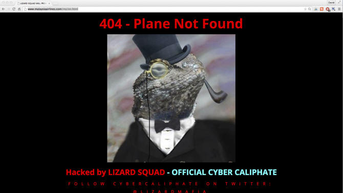 """A screen grab of the  official website of national carrier Malaysia Airlines after it was hacked  by a group calling itself the """"Official Cyber Caliphate"""""""