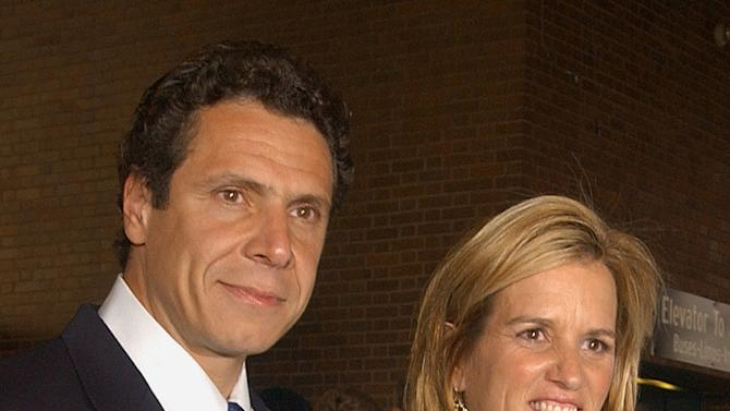 FILE - In this June 30, 2003 file photo, Carrie Kennedy-Cuomo and her husband, Andrew Cuomo are photographed together in New York. Police say that Kennedy, the former wife of New York Governor Andrew Cuomo, has been arrested on Friday, July 13, 2012, for driving while impaired by drugs after colliding with a tractor-trailer in North Castle, N.Y. (AP Photo/Patrick Andrade, File)