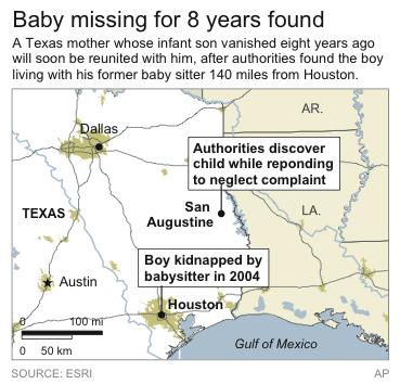 Map locates key locations pertaining to a Texas missing child's case first filed eight years ago.