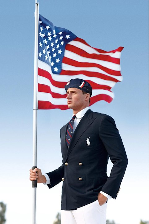 FILE - This product image released by Ralph Lauren shows U.S. Olympic swimmer Ryan Lochte modeling the the official Team USA Opening Ceremony Parade Uniform. Republicans and Democrats railed Thursday,