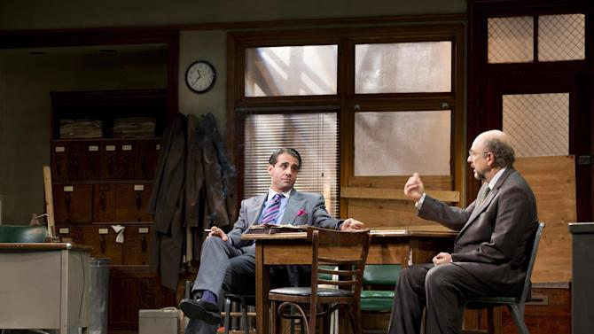 """This undated publicity photo released by Jeffrey Richards Associates shows Bobby Cannavale, left, and Richard Schiff in a scene from """"Glengarry Glen Ross"""" at the Gerald Schoenfeld Theatre in New York. (AP Photo/Jeffrey Richards Associates)"""