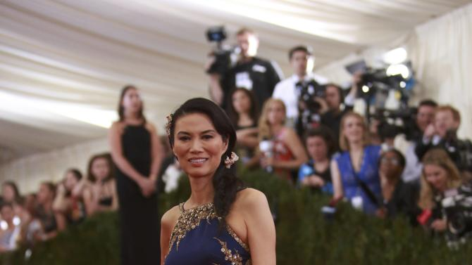 "Wendi Deng Murdoch arrives for the Metropolitan Museum of Art Costume Institute Gala 2015 celebrating the opening of ""China: Through the Looking Glass,"" in Manhattan"