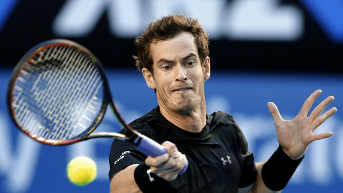 Andy Murray of Britain makes a forehand return to Tomas Berdych of the Czech Republic during their semifinal match at the Australian Open tennis championship in Melbourne, Australia, Thursday, Jan. 29, 2015. (AP Photo/Lee Jin-man)