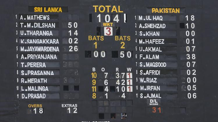 Final scores are seen from both sides after Sri Lanka won their ODI cricket series against Pakistan in Dambulla