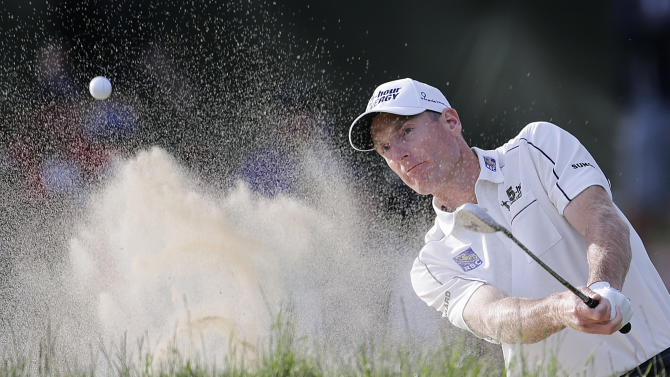 Jim Furyk hits out of a bunker on the 16th hole during the third round of the U.S. Open Championship golf tournament Saturday, June 16, 2012, at The Olympic Club in San Francisco. (AP Photo/Eric Gay)
