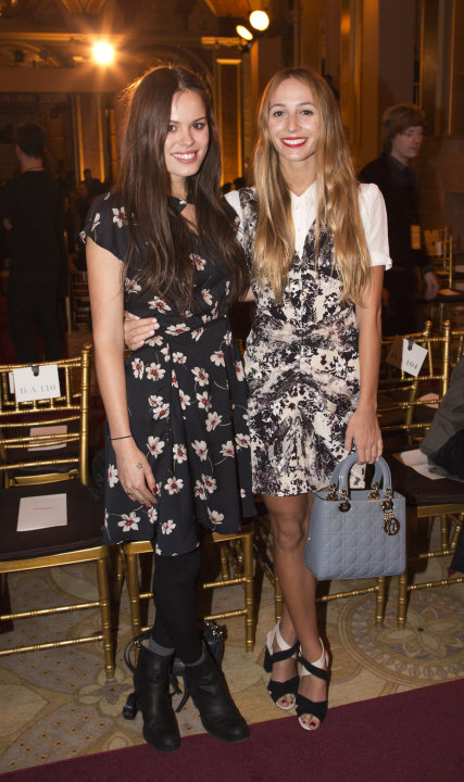 Atlanta de Cadenet-Taylor and Harley Viera-Newton attend the presentation of the Zac Posen Autumn/Winter 2013 collection during New York Fashion Week