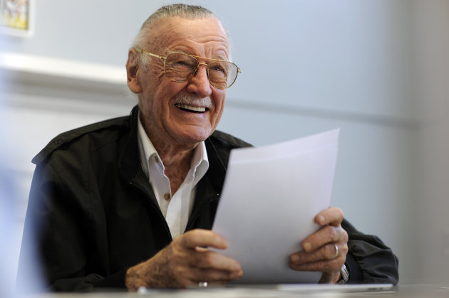 Legendary comic creator Stan Lee appears at the Savannah College of Art and Design while visiting the college to critique some of the work by graduate and undergraduate students in the sequential art program in Savannah, Ga., on Wednesday, Oct. 31, 2012. Lee, the 89-year-old co-creator of Spider-Man, dropped in on the school after being honored at the SCAD Savannah Film Festival. (AP Photo/Stephen Morton)