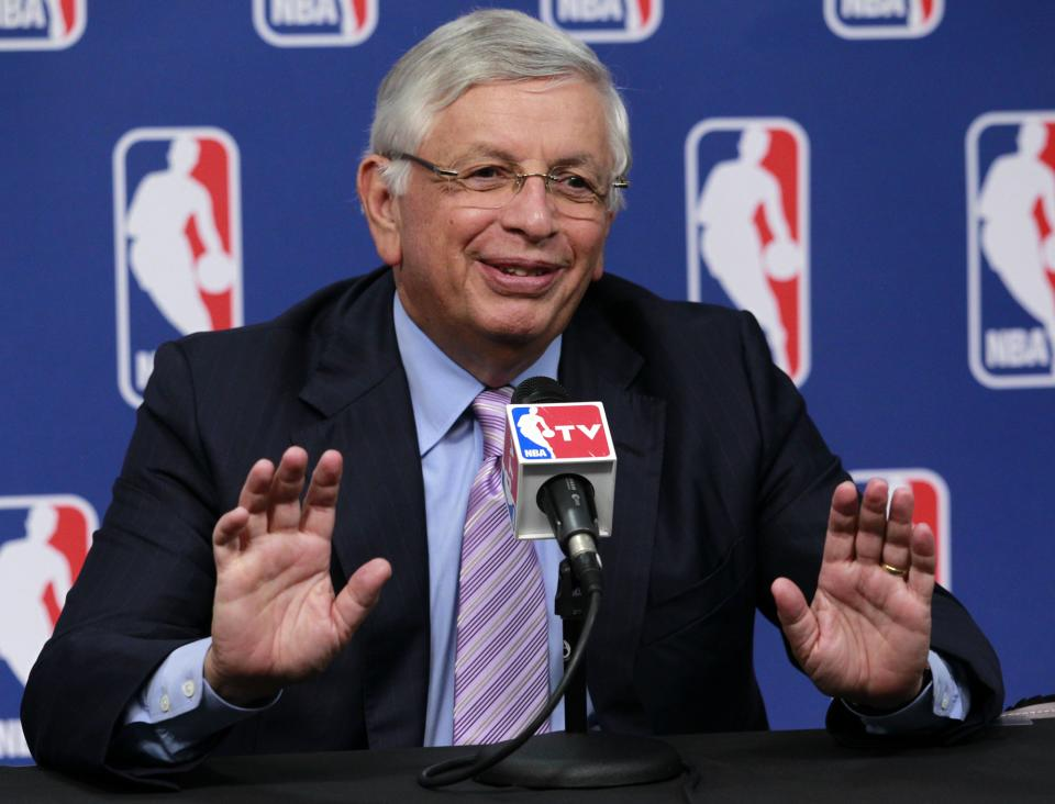 NBA commissioner David Stern talks to the media prior to the start of the 2011 NBA basketball draft lottery meeting, Tuesday, May 17, 2011 in Secaucus, N.J. (AP Photo/Julio Cortez)