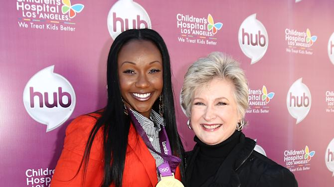 "Carmelita Jeter, left, and Margaret Loesch, president and CEO of The Hub TV Network attend The Hub TV Network's ""My Little Pony Friendship is Magic"" Coronation Concert at the Brentwood Theatre on Saturday, Feb. 9, 2013, in Los Angeles in support of Children's Hospital LA. (Photo by Matt Sayles/Invision for The Hub/AP Images)"