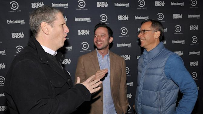 "From left, President of Viacom Entertainment Group Doug Herzog, actor/comedian Nick Kroll, left, and Comedy Central's Head of Original Programming and Production Kent Alterman attend an exclusive screening of Comedy Central's ""Kroll Show"" hosted by Entertainment Weekly on Tuesday, January 15, 2013 at LA's Silent Movie Theatre in Los Angeles. (Photo by John Shearer/Invision for Entertainment Weekly/AP Images)"