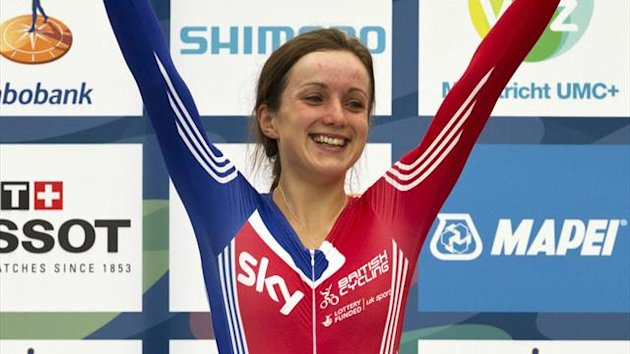 Britain's Elinor Barker celebrates on the podium after winning the junior women's under-23 time trial at the UCI Road World Championships in Valkenburg September 18, 2012 (Reuters)