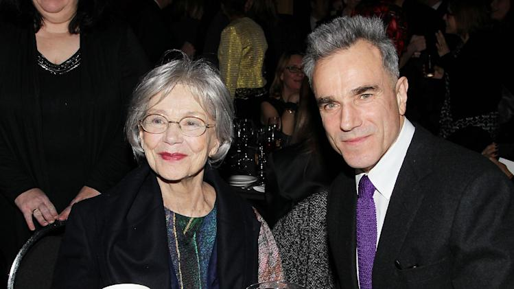 "This Jan. 7, 2013 photo released by Starpix shows French actress Emmanuelle Riva from ""Amour"", left, with actor Daniel Day Lewis from ""Lincoln,"" at the New York Film Critics Circle awards dinner at the Crimson Club in New York. (AP Photo/Starpix, Dave Allocca)"