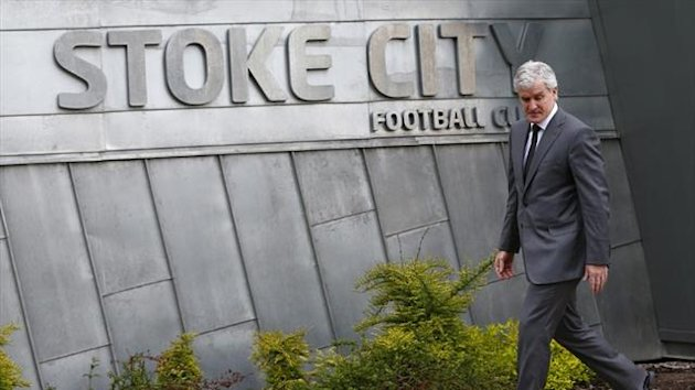 Stoke City's new manager Mark Hughes arrives for a photocall at the Clayton Wood training facility in Stoke-on-Trent (Reuters)