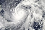 This image obtained from NASA shows typhoon Sanba on Setember 13. Sanba, packing winds of 137 kilometres per hour, slammed into South Korea Monday, bringing torrential rains across the country and shutting down flights and ferry services