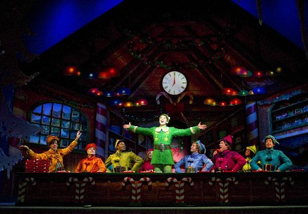 "This publicity image released by The Hartman Group shows the cast in a scene from the Christmas musical ""Elf"" in New York. The hit musical ELF will return to Broadway this holiday season at the Al Hirschfeld Theatre. Performances will begin on Friday, Nov. 9, 2012. The production will play a limited engagement of 9 weeks for the holiday season through Sunday, Jan. 6, 2013. (AP Photo/The Hartman Group, Joan Marcus)"