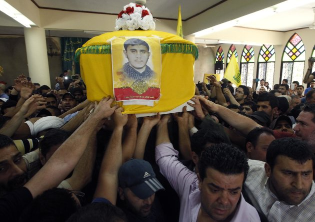 Supporters of Hezbollah and relatives of Saleh Ahmed Sabagh, a Hezbollah member, carry the coffin during his funeral in the port-city of Sidon