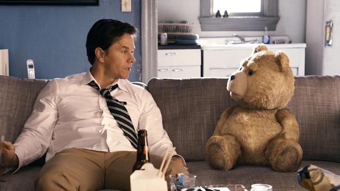 """This film image released by Universal Pictures shows Mark Wahlberg, left with the character Ted, voiced by Seth MacFarlane in a scene from """"Ted."""" (AP Photo/Universal Pictures)"""