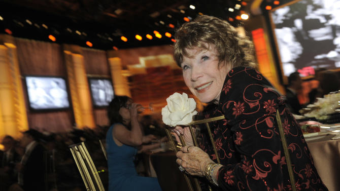 Shirley MacLaine attends the AFI Life Achievement Award Honoring Shirley MacLaine at Sony Studios on Thursday, June 7, 2012 in Culver City, Calif. The AFI Lifetime Achievement Honoring Shirley MacLaine airs on June 24, 2012 at 9 p.m. on TV Land. (Photo by Chris Pizzello/Invision/AP)