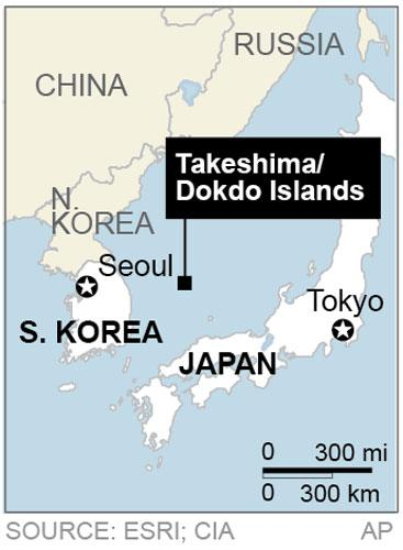 Map locates a disputed chain of islands between South Korea and Japan called Takeshima in Japanese and Dokdo in Korean;