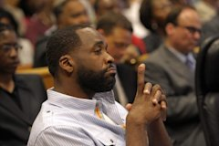 Kwame Kilpatrick listens to court proceedings June 16. The former Detroit mayor will move to Texas. (David Guralnick / The Detroit News)