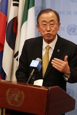 United Nations Secretary General Ban Ki-moon, speaks to the media, Friday, March, 28, 2014 at U.N. Headquarters. The Secretary General said that Russian President Vladimir Putin assured him that he had no intention of making another military move into Ukraine following the annexation of Crimea. (AP Photo/Jamie Castro)