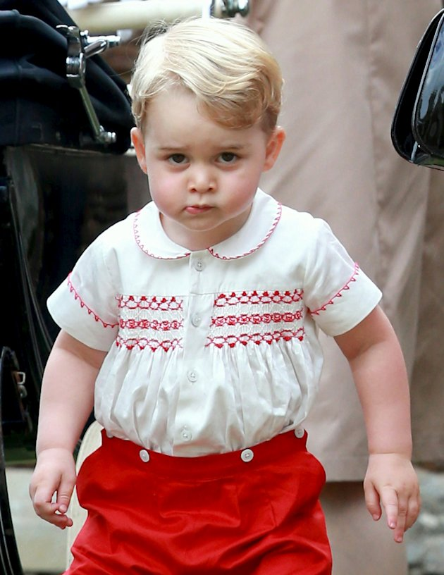 Prince George of Cambridge leaves the Church of St Mary Magdalene on the Sandringham Estate for the Christening of Princess Charlotte of Cambridge on July 5, 2015 in King's Lynn, England.  REUTERS/Chris Jackson/Pool