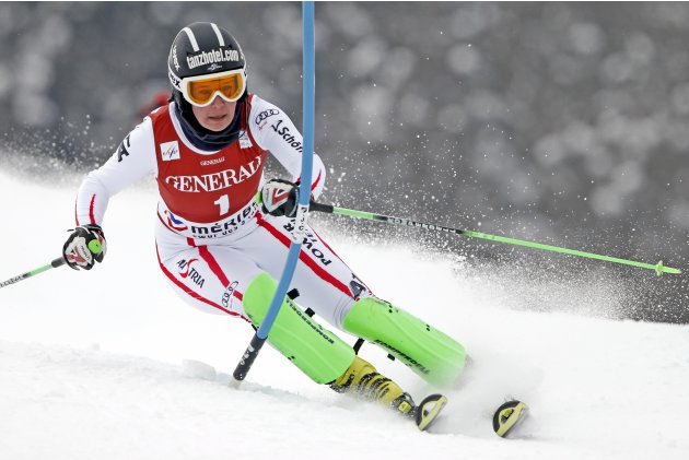 Stefanie Moser of Austria skis during the women's World Cup super combined slalom race in Meribel, in the French Alps
