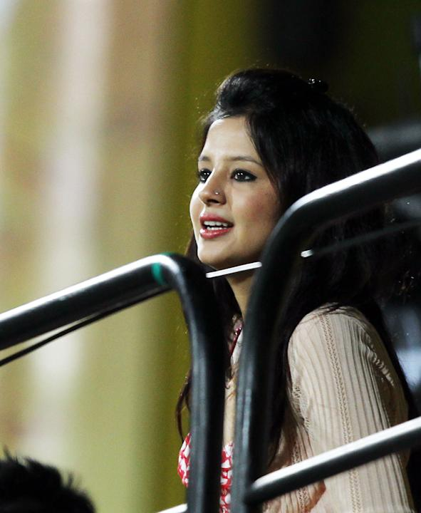 CSK captain MS Dhoni's wife Sakshi watching the match during the match between Chennai Super Kings and Sunrisers Hyderabad at MA Chidambaram Stadium in Chennai on April 25, 2013. (Photo: IANS)