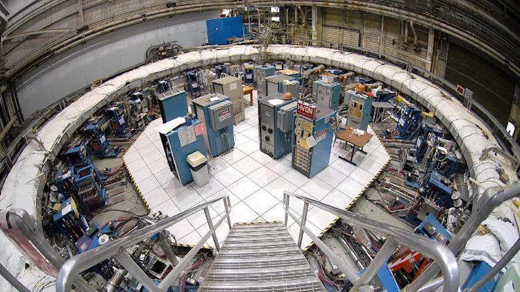 A Dec. 22, 2005, photo provided by Brookhaven National Laboratory shows the 50-foot-wide electromagnet storage ring at Brookhaven National Laboratory in Upton, N.Y., on eastern Long Island. The ring, which will capture subatomic particles that live only 2.2 millionths of a second, will be transported in one piece, and moved flat, to its new home at the U.S. Department of Energy's Fermi National Accelerator Laboratory in Illinois. The trip is expected to take more than a month. (AP Photo/Brookhaven National Laboratory)