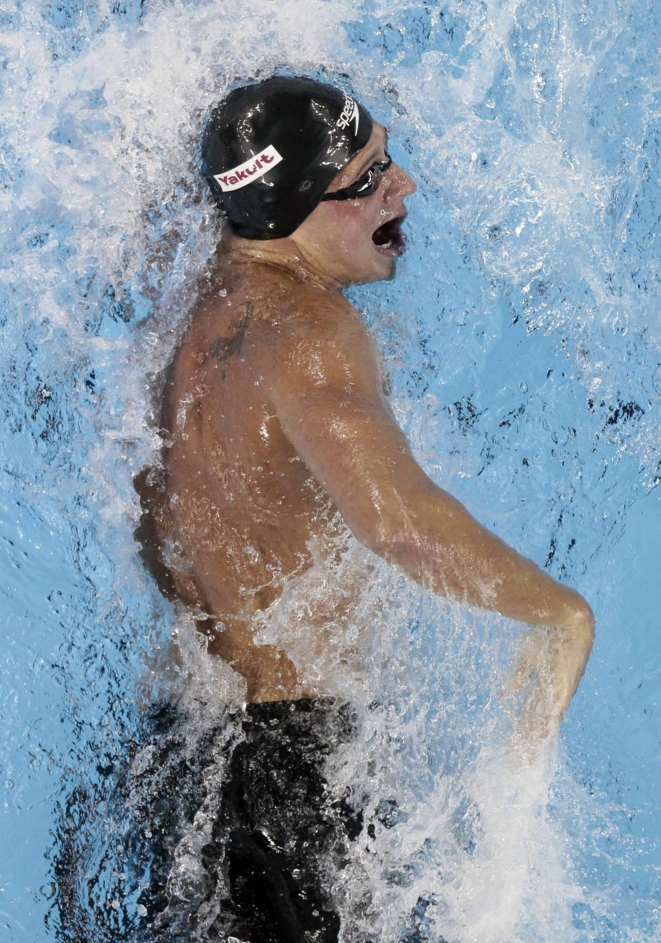 Ryan Lochte, of the United States, swims in the men's 200-meters Freestyle semifinal at the FINA 2011 Swimming World Championships in Shanghai, Monday, July 25, 2011. (AP Photo/Gero Breloer)