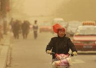 A woman wearing a plastic bag over her head rides along a street against wind on a hazy day in Taiyuan, Shanxi province, February 28, 2013. Beijing's environmental authorities said on Thursday air quality in Beijing and nearby regions hit dangerous levels, Xinhua News Agency reported. REUTERS/China Daily (CHINA - Tags: ENVIRONMENT) CHINA OUT. NO COMMERCIAL OR EDITORIAL SALES IN CHINA