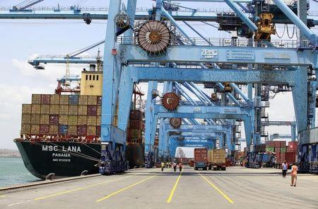 A ship docks at the main port in the Kenyan coastal city of Mombasa