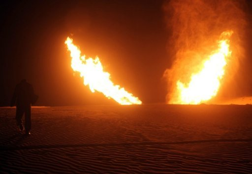 File picture shows flames rising from a pipeline in north Sinai that delivers gas to Israel and Jordan after it was hit by an explosion in March. Attackers on Sunday blew up the gas pipeline in Egypt's Sinai, the 15th such attack since 2011, the official MENA news agency reported