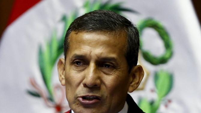 Peruvian President Humala delivers a speech to the nation at the Congress on Independence Day in Lima