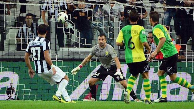Fabio Quagliarella scores for Juventus against Chievo (AFP)