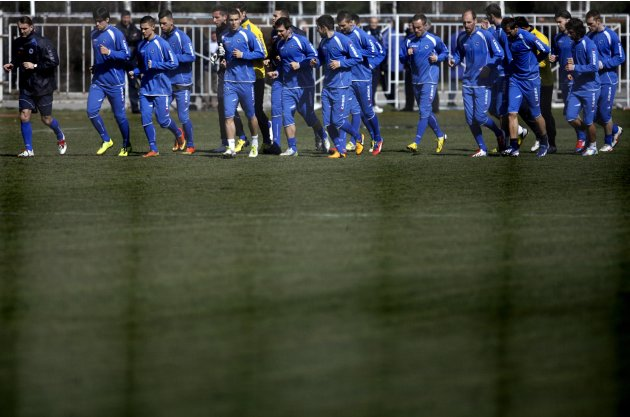Bosnia's national soccer team players take part in a training session in Hrasnica