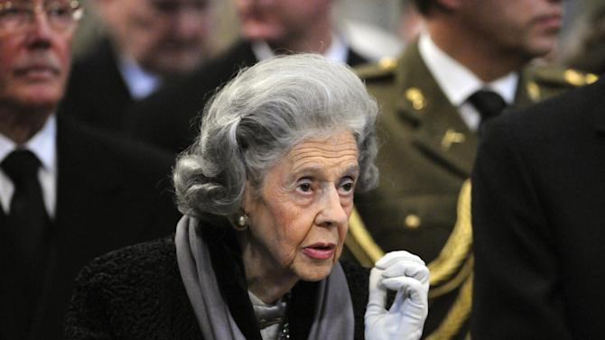 Queen Fabiola of Belgium, wife of late King Baudouin of Belgium, attends the church of Laeken  in Brussels, in this Friday Dec. 4, 2009 file photo. Queen Fabiola is facing widespread accusations she is trying to shield some of her fortune she will leave behind from the tax man _ a move that is going over very poorly as her people struggle through tough economic times. (AP Photo/Thierry Charlier, File)