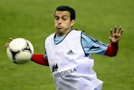 Spain's forward Pedro Rodriguez takes part in a training session on the eve of the FIFA World Cup 2014 qualifying football match Spain vs France at Vicente Calderon stadium in Madrid
