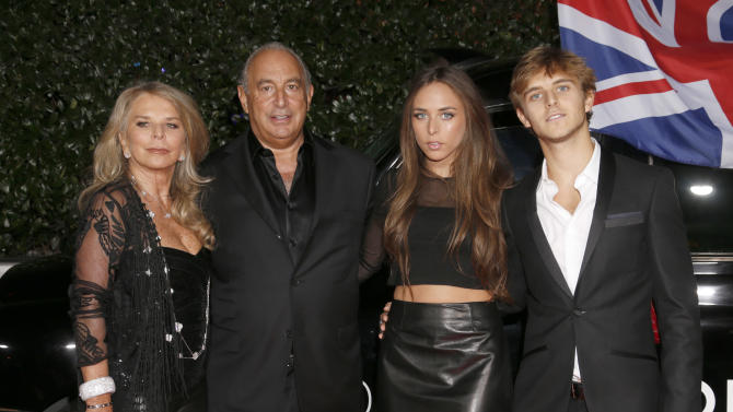Lady Tina Green, Sir Philip Green, Chloe Green and Brandon Green attend the Topshop Topman LA Opening Party At Cecconi's in Los Angeles, on Wednesday, Feb. 13, 2013 in Los Angeles. (Photo by Todd Williamson/Invision for/AP)