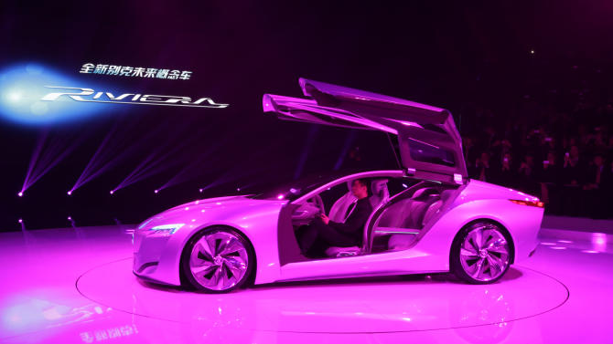 Buick Riviera Concept 2013 model is unveiled ahead of the Shanghai International Automobile Industry Exhibition (AUTO Shanghai) in Shanghai, China Friday, April 19, 2013. (AP Photo/Eugene Hoshiko)