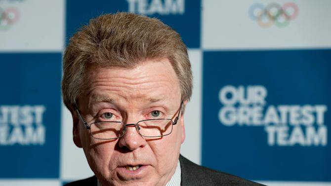 "British Olympic Association Chairman Lord Colin Moynihan during a press conference at the BOA Headquarters, London Monday April 30, 2012.   Britain's lifetime Olympic ban for doping offenders was overturned by sport's highest court Monday April 30, 2012,  clearing the way for sprinter Dwain Chambers and cyclist David Millar to try to qualify for the London Games. In recent months, BOA chairman Colin Moynihan has been harshly critical of WADA, accusing it of failing to catch the world's biggest drug cheats and of dragging the doping fight into a ""dark age."" He called for an independent review of the Montreal-based body.(AP Photo/ Dominic Lipinski/PA) UNITED KINGDOM OUT"
