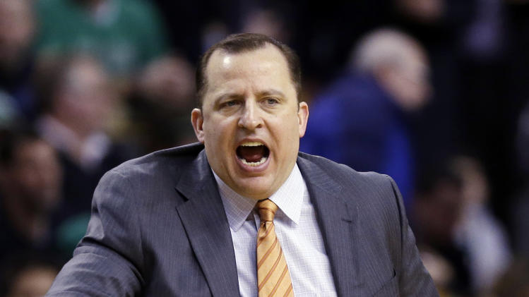 Chicago Bulls head coach Tom Thibodeau yells from the bench during the first quarter of an NBA basketball game against the Boston Celtics in Boston, Wednesday, Feb. 13, 2013. (AP Photo/Elise Amendola)