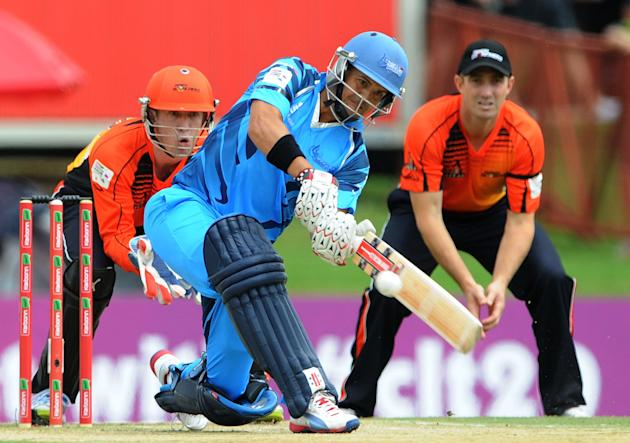 PRETORIA, SOUTH AFRCA - OCTOBER 13: Jacques Rudolph of the Titans in action during the Champions League Twenty20 match between Nashua Titans (South Africa) and Perth Scorchers (Australia) at SuperSpor