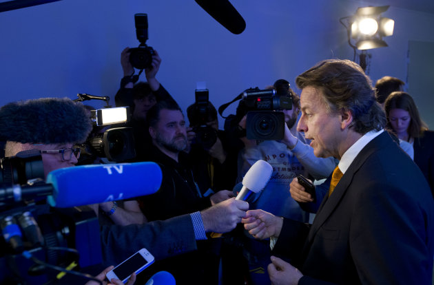 Dutch Foreign Affairs Minister Bert Koenders answers questions of journalists prior the start of an anti terror conference at the Europol headquarters...